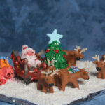 Santa Claus and reindeer scene