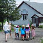 visiting students at the farm