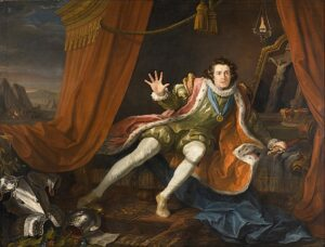 English actor David Garrick as Richard III just before the battle of Bosworth Field. His sleep having been haunted by the ghosts of those he has murdered, he wakes to the realisation that he is alone in the world and death is imminent. The painting, David Garrick as Richard III (1745), by William Hogarth.
