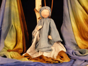 Waldorf marionette and hand-dyed silks