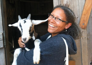 Lorrie Clevenger with goat