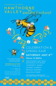 A poster for the 2019 May Day and Spring Fair Celebration with a light blue background and a graphic featuring a honey bee and bumble bee