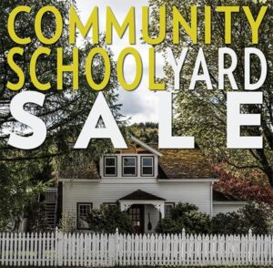 HVS Community Yard Sale poster featuring our kindergarten house and a white picket fence