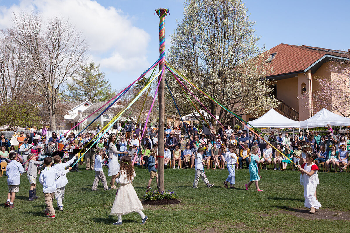 Traditional May Pole dancing featuring HVS students. Photo by Catdodge Photography.