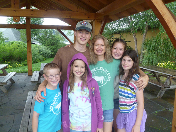 Camper family at summer camp drop-off