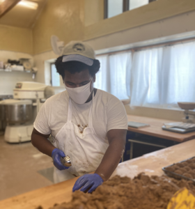 Kenny working in the bakery at Hawthorne Valley