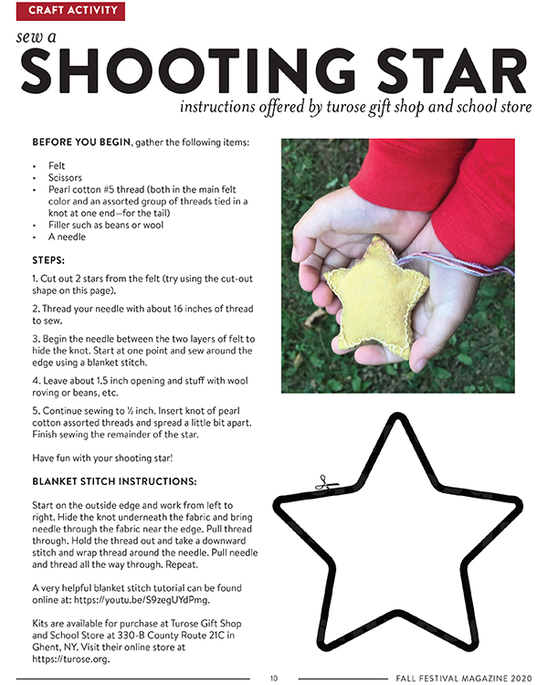 How to Sew a Shooting Star Craft Activity directions